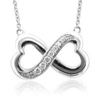 18ct White Gold Diamond Set Infinity Pendant