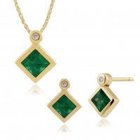 18ct Yellow Gold Rubover Set Emerald And Diamond Pendant And Studs