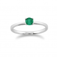 9ct White Gold Single Stone Emerald Ring