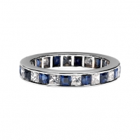 Platinum Princess Cut Diamond And Sapphire Full Eternity Ring
