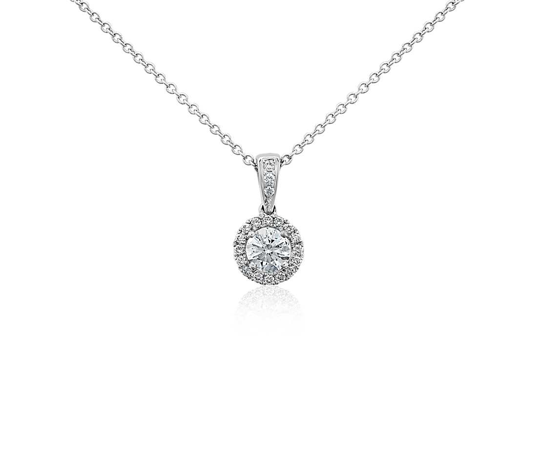 Pendantsnecklaces mh jewellery 18ct white gold single halo diamond pendant 18ct white gold aloadofball Image collections