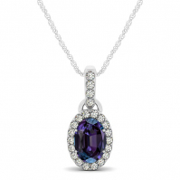 18ct White Gold Oval Alexandrite And Diamond Halo Drop Pendant