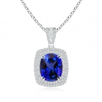 18ct White Gold Double Halo Tanzanite Pendant