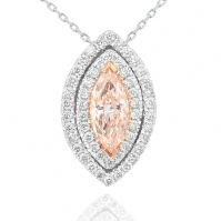 18ct White Gold Marquise Shape Pink Diamond Double Halo Pendant