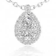 Platinum Pear Shape Diamond Halo Pendant