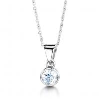 Platinum Rubover Set Diamond Pendant
