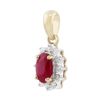 18ct Yellow And White Gold Ruby And Diamond Cluster Pendant