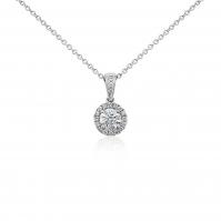 18ct White Gold Single Halo Diamond Pendant