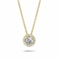 18ct Yellow Gold Single Halo Diamond Pendant