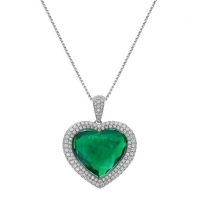18ct White Gold Emerald Heart Shape Double Halo Pendant