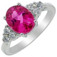 9ct White Gold Pink Tourmaline And Diamond Ring