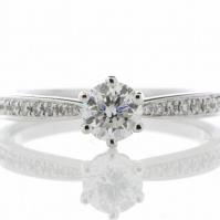 Platinum 6 Claw Solitaire Ring, Diamond Set Shoulders