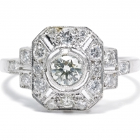 Exquisite Platinum Art Deco Style Diamond Cluster Ring