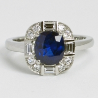 Art Deco Style Sapphire, Brilliant And Baguette Cut Diamond Ring