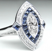 Art Deco Style Sapphire And Marquise Diamond ring
