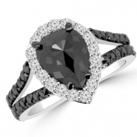 18ct White Gold Black And White Diamond Ring With Black Rhodiumed Shoulders