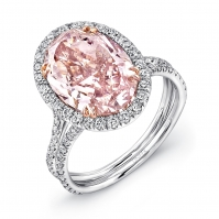 18ct White Gold Pink Oval Diamond Halo Ring, Split Diamond Set Shoulders