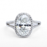 Platinum Oval Shape Diamond Halo Ring, Split Diamond Set Shoulders