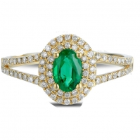 18ct Yellow Gold Oval Shape Emerald And Diamond Double Halo Ring