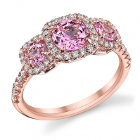 18ct Rose Gold Pink Sapphire And Diamond Halo Three Stone, Diamond Set Shoulders