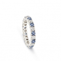 18ct White Gold Sapphire And Diamond Alternate Full Eternity Ring