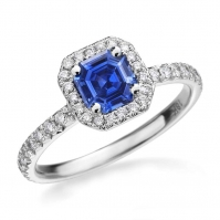18ct White Gold Ascher Cut Tanzanite And Diamond Ring