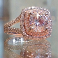 18ct Rose Gold Encrusted Pink Diamond Double Halo Cluster Ring