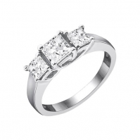 18ct White Gold Princess Cut Three Stone Ring