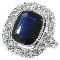 Art Deco Style Sapphire And Diamond Cocktail Ring, Millgrained Edges